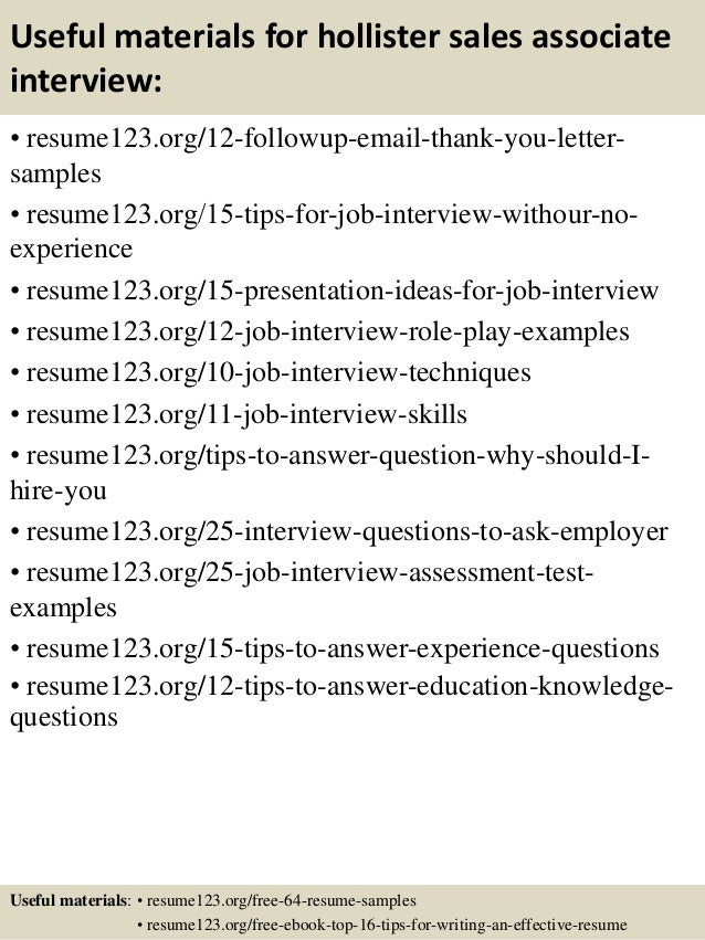 14 useful materials for hollister sales associate - Sample Resume For Sales Associate