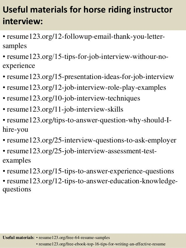 Top 8 horse riding instructor resume samples
