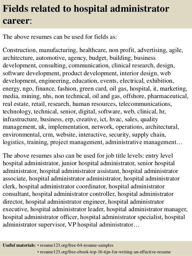 Top 8 hospital administrator resume samples