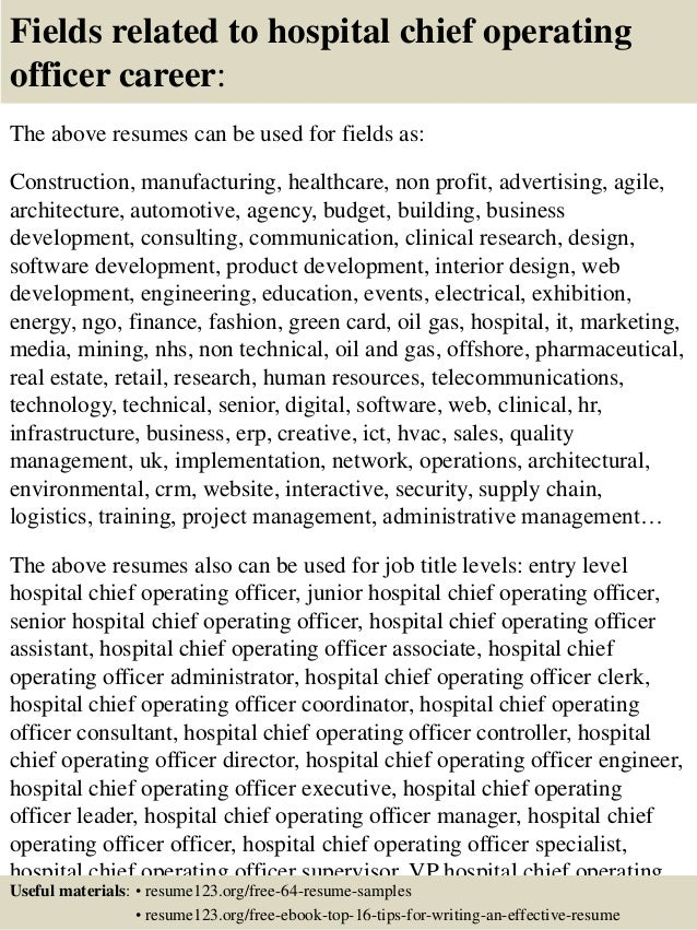 Top 8 hospital chief operating officer resume samples - Chief operating officer coo average salary ...