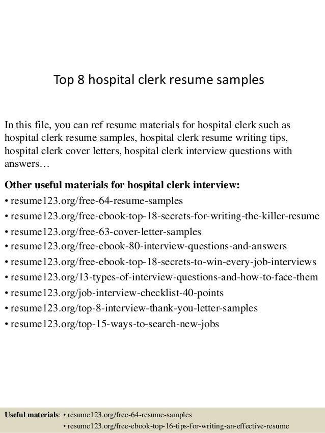 Top 8 hospital clerk resume samples