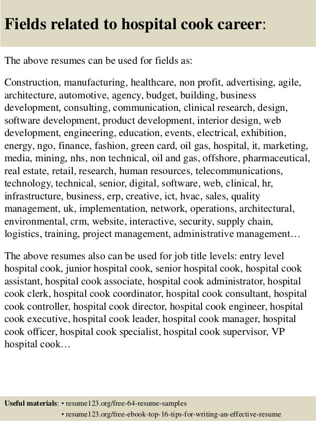 Top 8 Hospital Cook Resume Samples