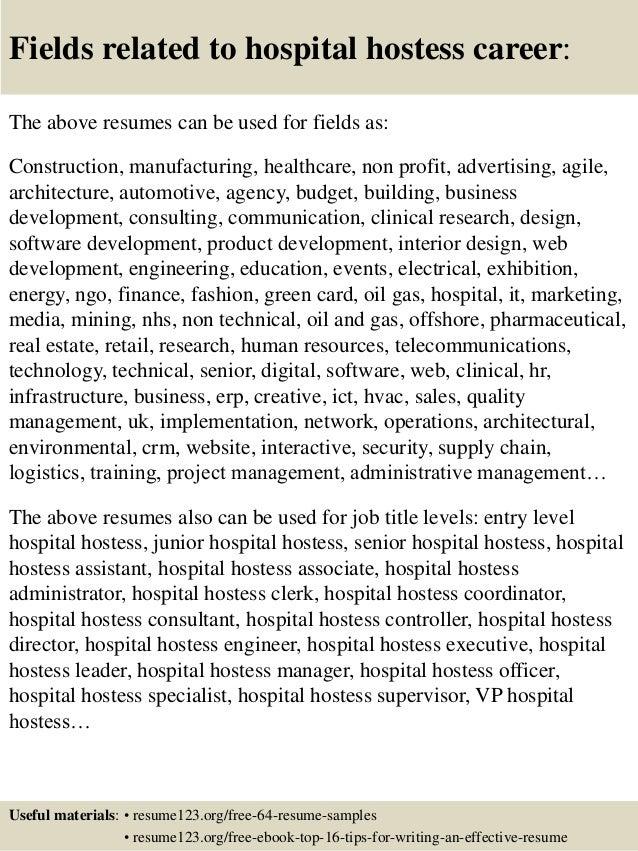 Top 8 hospital hostess resume samples – Sample Hostess Resume