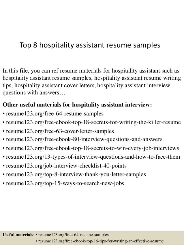 Top 8 Hospitality Assistant Resume Samples In This File, You Can Ref Resume  Materials For ...