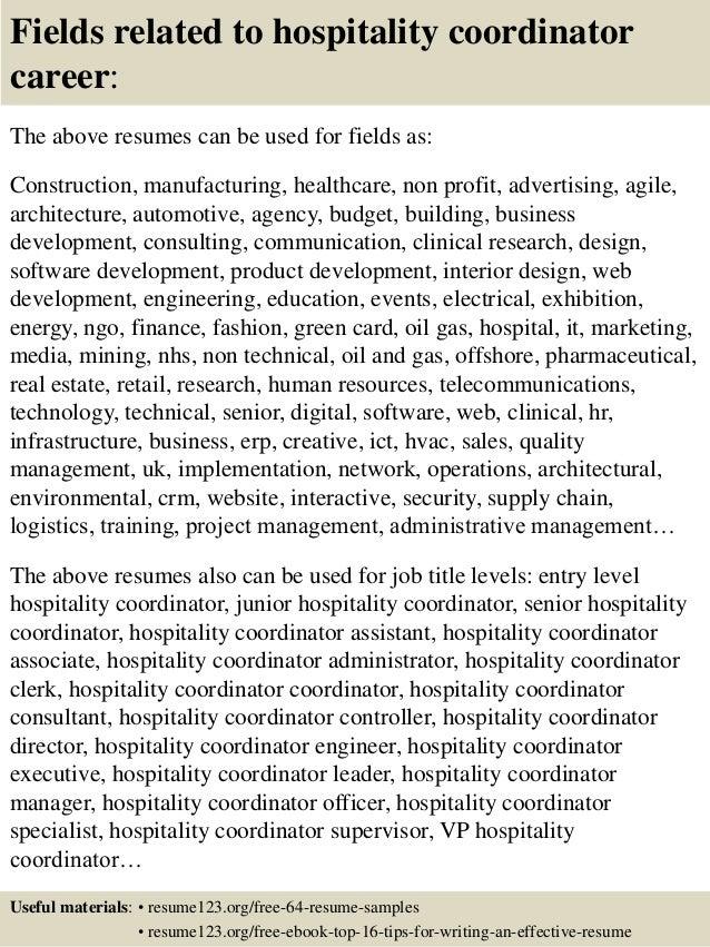 Top 8 hospitality coordinator resume samples