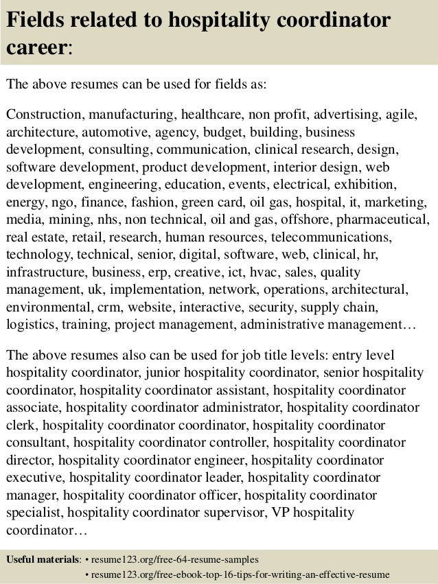 Resume Sample Resume For Hospitality Coordinator top 8 hospitality coordinator resume samples 16 fields related to coordinator