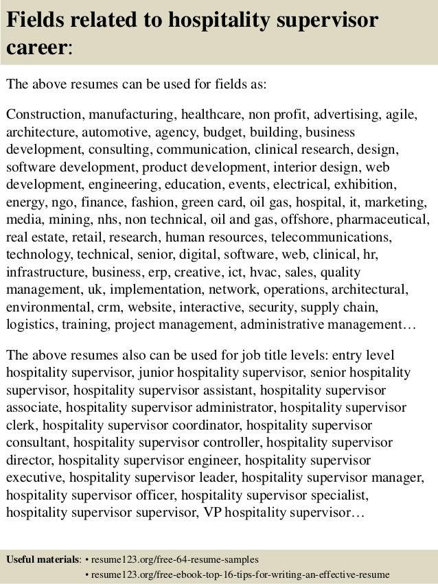 hospitality manager resume