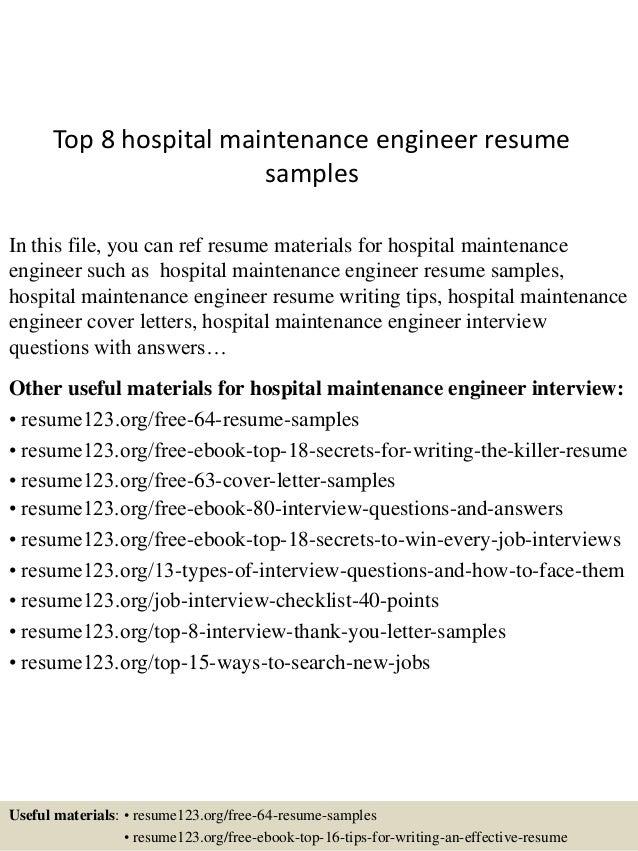 hospital resume