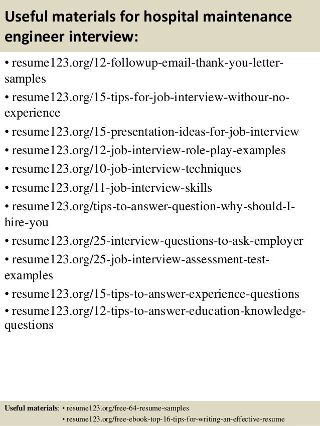 Top 8 Hospital Maintenance Engineer Resume Samples