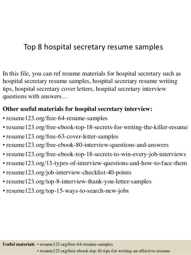 top8hospitalsecretaryresumesamples1638jpgcb1431775298