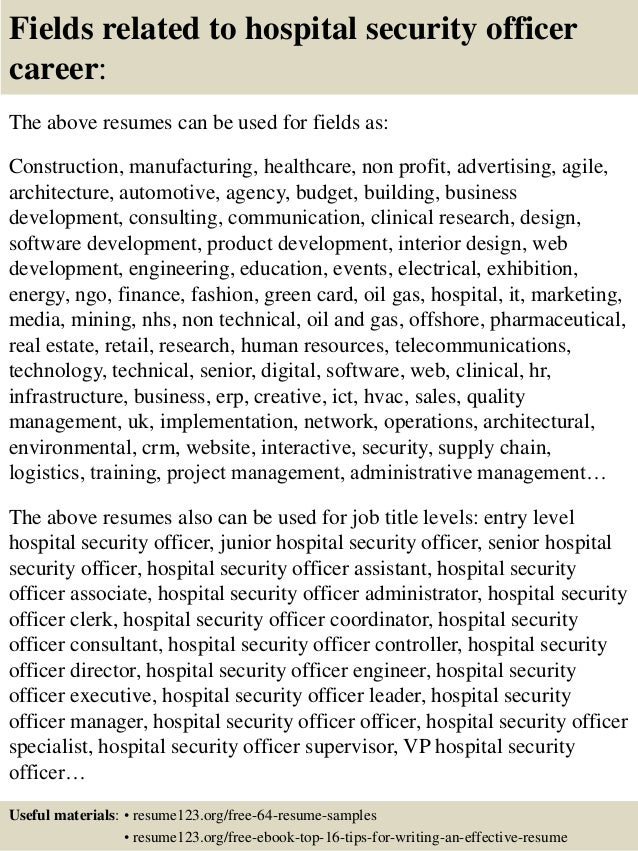 ... 16. Fields Related To Hospital Security Officer ...  Security Job Resume