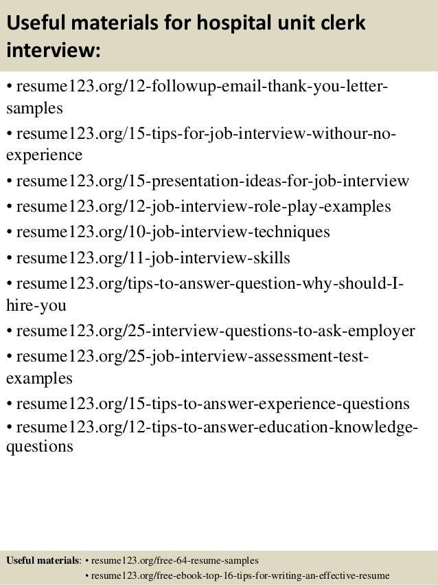 hospital unit clerk resume