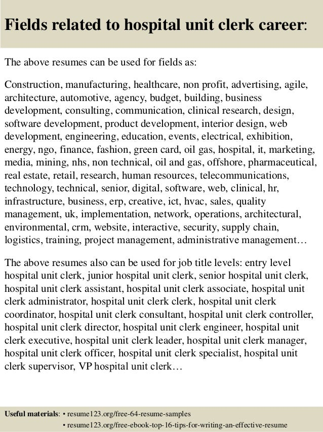 ... 16. Fields Related To Hospital Unit Clerk ...