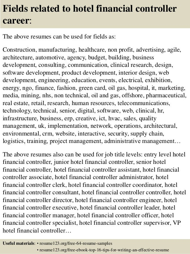16 fields related to hotel financial controller - Sample Financial Controller Resume