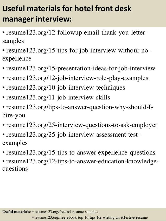 Top 8 Hotel Front Desk Manager Resume Samples