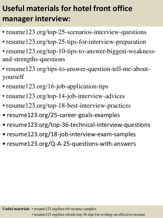 13 useful materials for hotel front office manager - Sample Resume For Office Manager