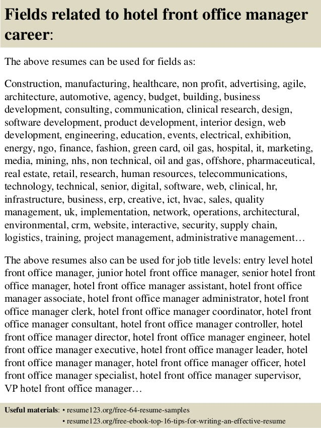 16 fields related to hotel front office manager career the above resumes