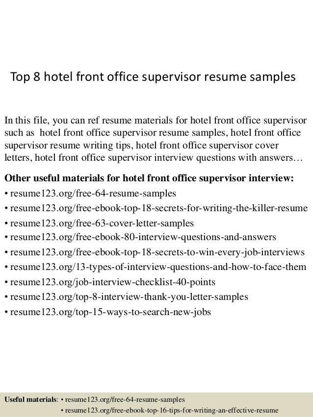 top 8 hotel front office supervisor resume samples 1 638 jpg cb 1431788264