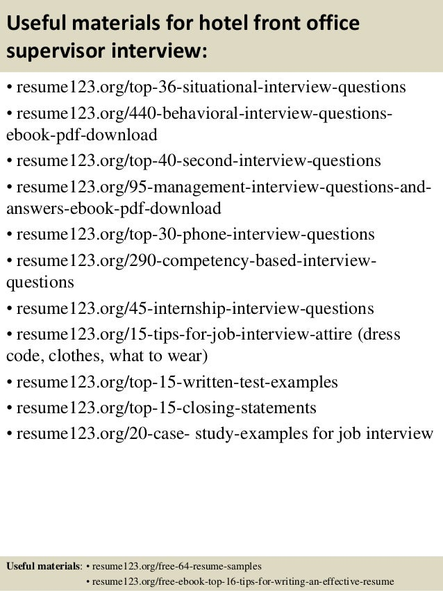 Top 8 hotel front office supervisor resume samples