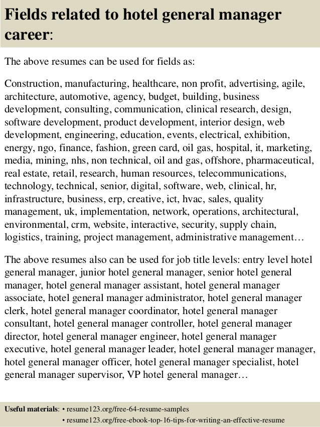 ... 16. Fields Related To Hotel General Manager ...  Hotel General Manager Resume