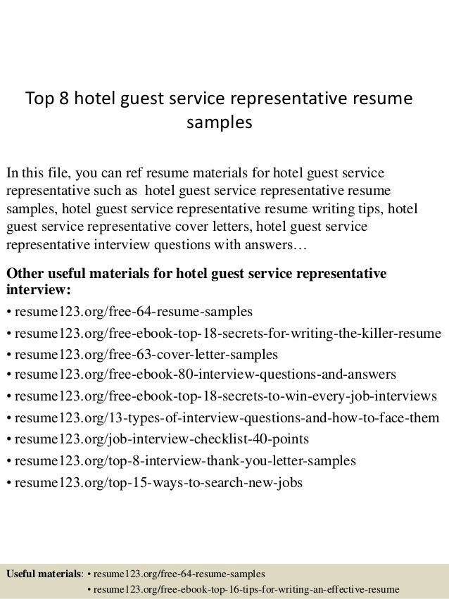 Top 8 Hotel Guest Service Representative Resume Samples In This File You Can Ref