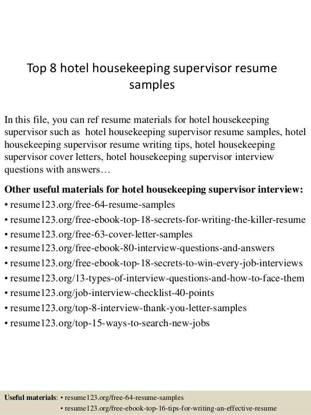 hotel housekeeping supervisor resume