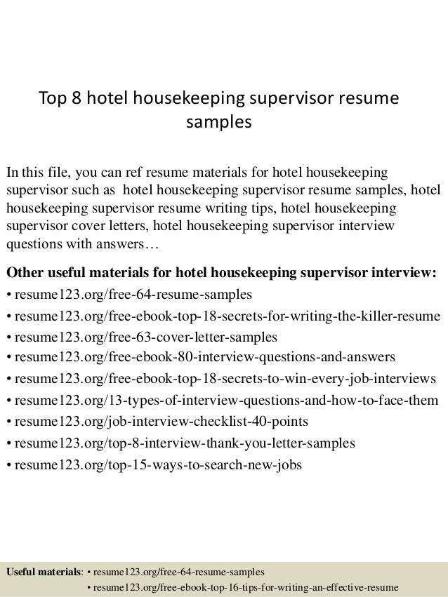 Top 8 Hotel Housekeeping Supervisor Resume Samples
