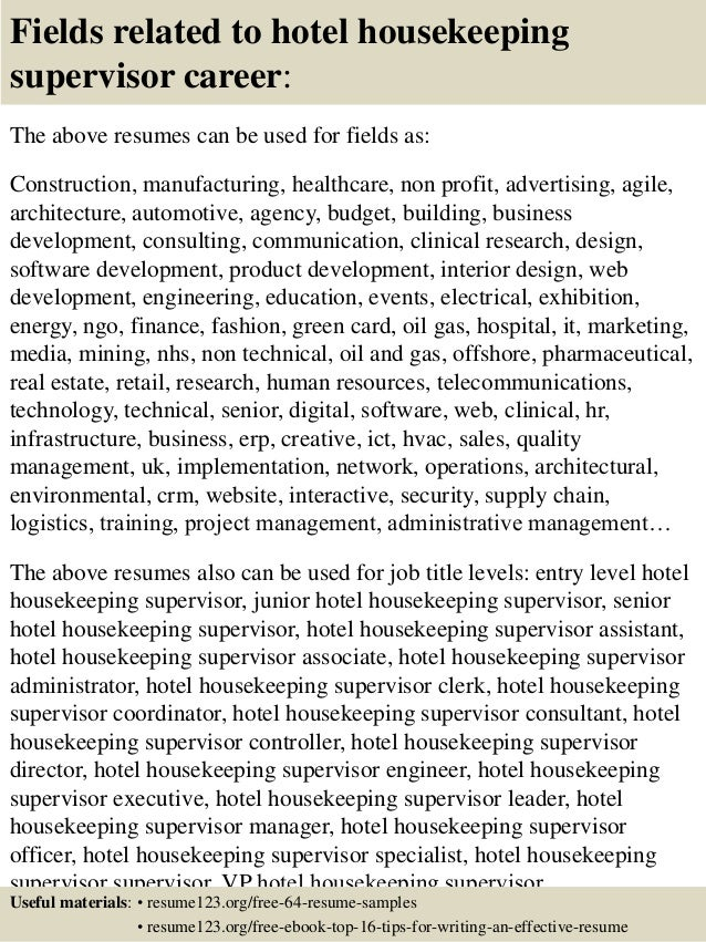 16 fields related to hotel housekeeping supervisor