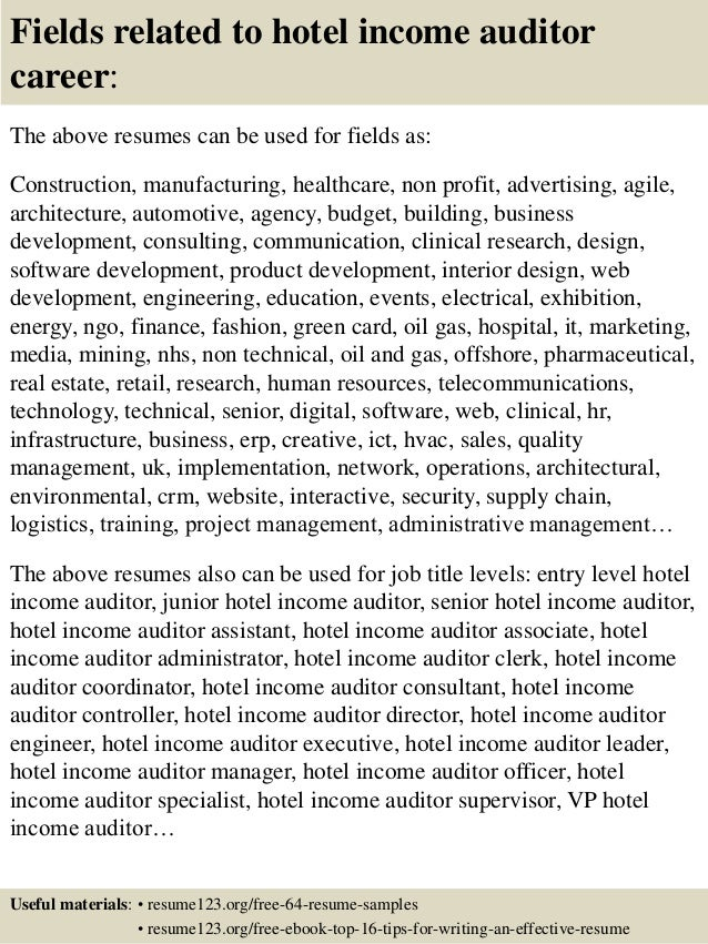 ... 16. Fields Related To Hotel Income Auditor ...