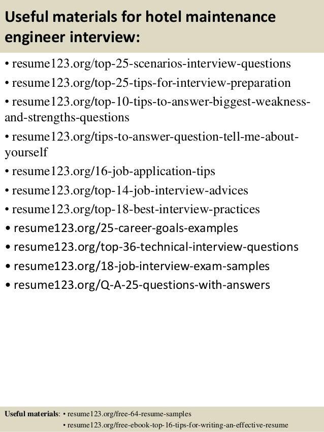 top 8 hotel maintenance engineer resume samples