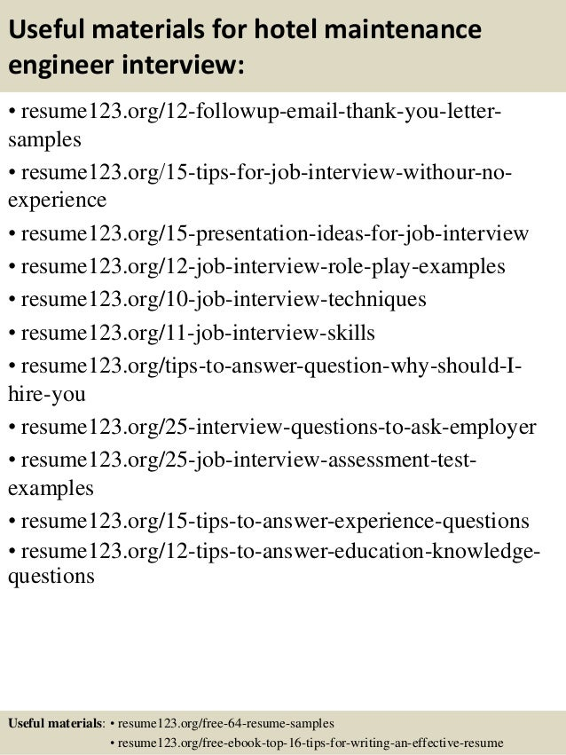 14 useful materials for hotel maintenance engineer - Hotel Maintenance Engineer Sample Resume