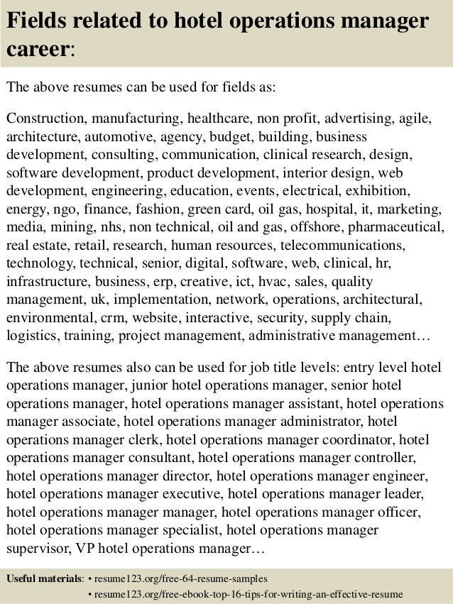 ... 16. Fields Related To Hotel Operations Manager ...  Operations Manager Resume