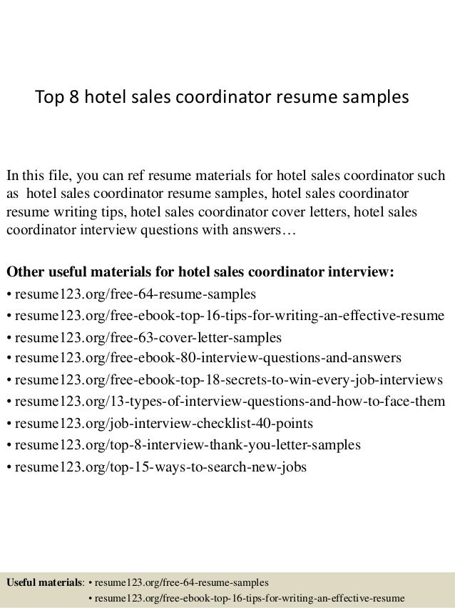 Top 8 Hotel Sales Coordinator Resume Samples