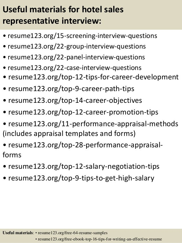 top 8 hotel sales representative resume samples