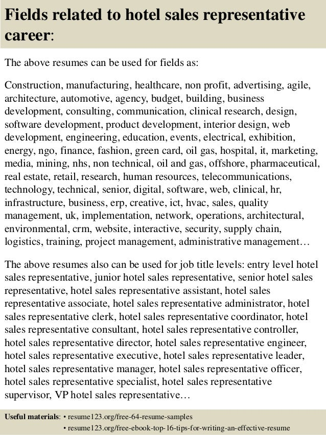 ... 16. Fields Related To Hotel Sales Representative ...