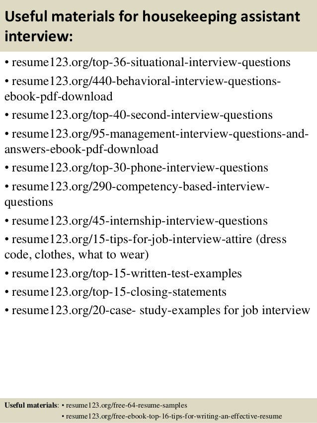 12 useful materials for housekeeping assistant - Housekeeping Assistant Resume Sample