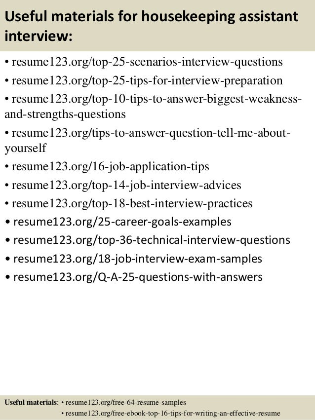 13 useful materials for housekeeping assistant - Housekeeping Assistant Resume Sample