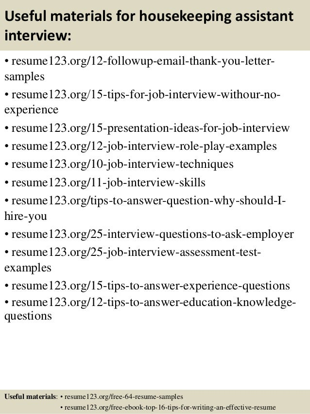 14 useful materials for housekeeping assistant - Housekeeping Assistant Resume Sample