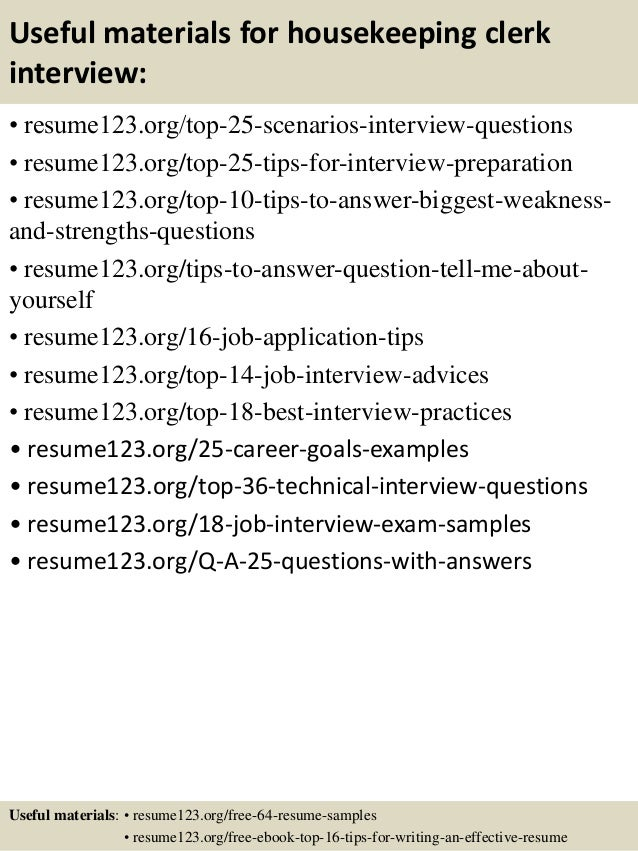 Top  Housekeeping Clerk Resume Samples