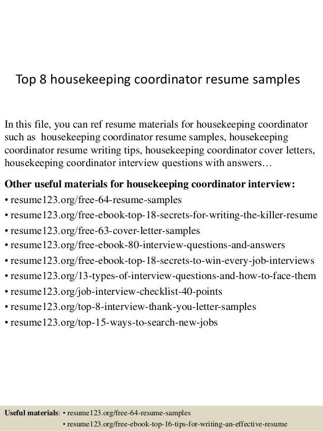 top 8 housekeeping coordinator resume samples