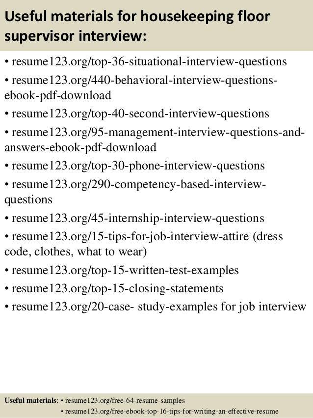 top 8 housekeeping floor supervisor resume samples