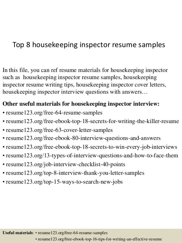 Top 8 housekeeping inspector resume samples