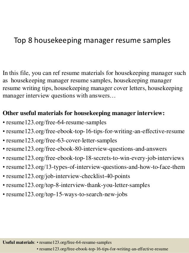 top 8 housekeeping manager resume samples in this file you can ref resume materials for - Profile Title For Housekeeper