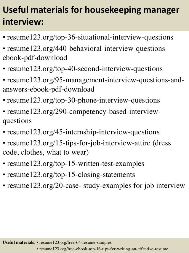 Housekeeping Resume Top 8 Housekeeping Manager Resume Samples