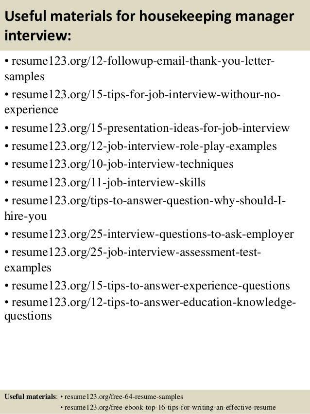 Top 8 Housekeeping Manager Resume Samples