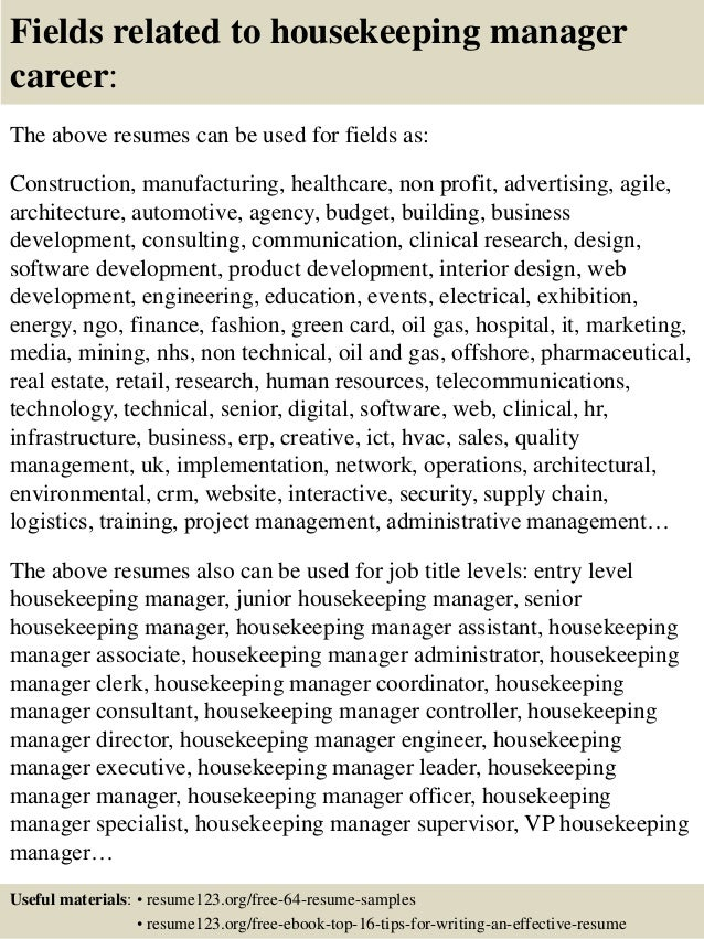 ... 16. Fields Related To Housekeeping ...  Resume For Housekeeping