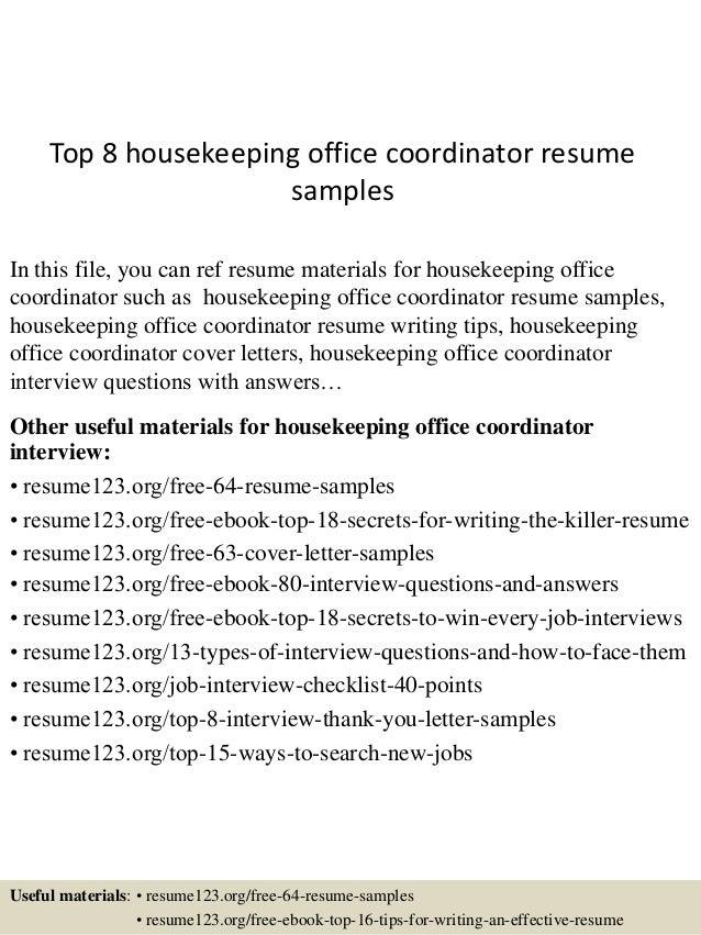 sample of housekeeping resumes