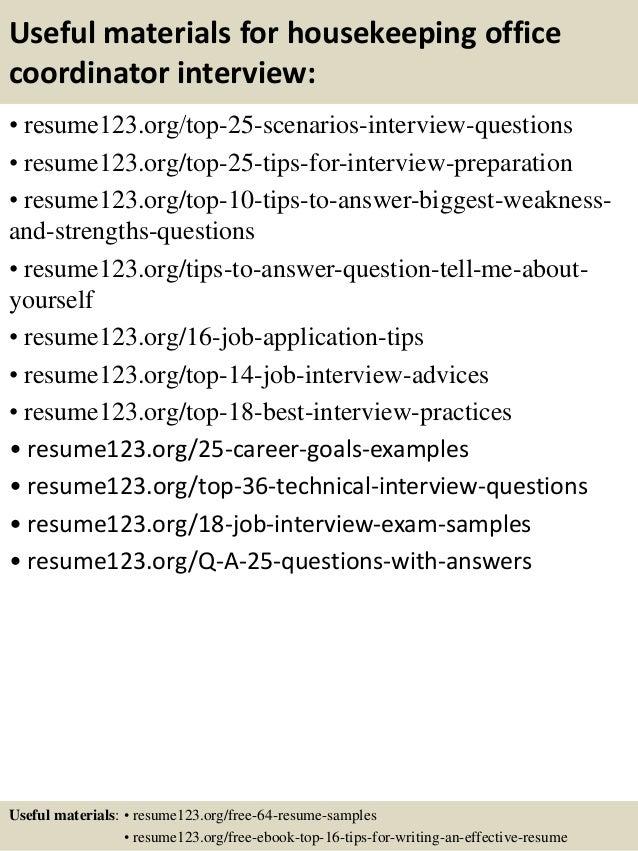 Top 8 housekeeping office coordinator resume samples – Office Coordinator Resume Sample