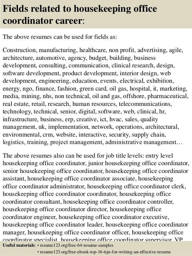 top 8 housekeeping office coordinator resume sles