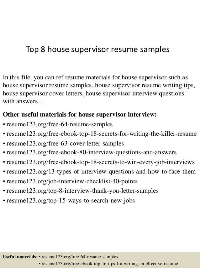 House supervisor resume